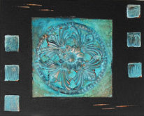 Rosette, Patina, Kupfer, Collage