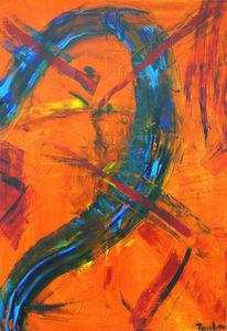 Abstrakt, Gesicht, Ölmalerei, Frau