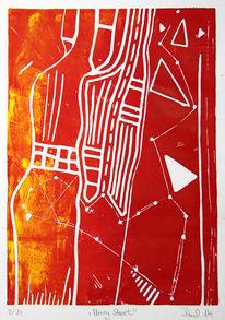Linolschnitt, Abstrakt, Druckgrafik,