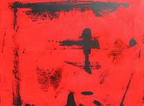 Abstrakt, Rot schwarz, Malerei, Schwarz