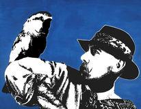 Druckgrafik, Vogel, Acrylmalerei, Mann