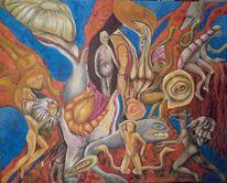 Technik, Kräftig, Farben, Acrylmalerei
