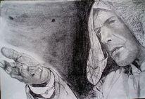 Mann gesicht hand, Zeichnungen, Portrait