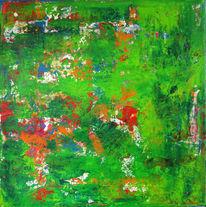 Überraschung, Grün, Gerakelt, Malerei