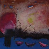Abendstimmung im abendrot, Malerei, Malerei und fotografie, Holzdruck