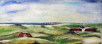 Kohlezeichnung, Malerei, Dünen, Hügel