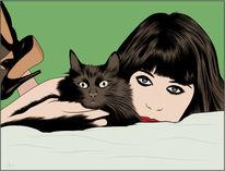 Frau, Katzenfreund, Katze, Illustrationen
