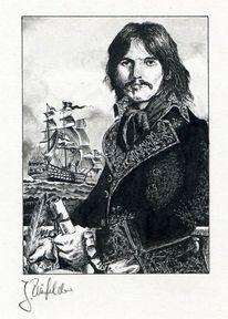 Zeichnung, Pirat, Tusche, Zeichnungen