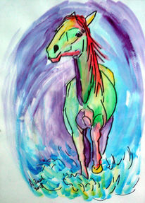 Schimmel, Stute, Pferde, Wasser
