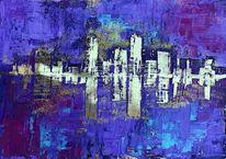 Stadt, Modern, Abstrakt, Malerei