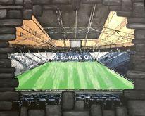 Stadion, Fußball, Schalke, Malerei