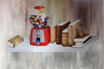 Kaugummi, Buch, Pigmente, Malerei