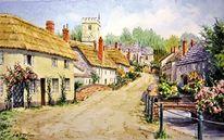 Dorf, Aquarellmalerei, Realismus, England