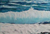 Welle, Impressionismus, Ölmalerei, Spachteltechnik