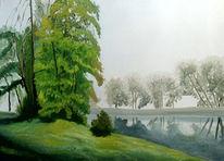 Flusslandschaft, Landschaft, Ölmalerei, Spiegelung