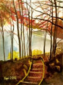 Treppe, Herbst, Wasser, Landschaft