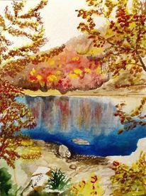 Wasser, Aquarellmalerei, Landschaft, Herbst