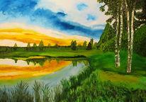 Russland, Ölmalerei, Natur, See