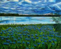 Landschaft, Himmel, Ölmalerei, Wasser