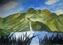 Landschaft, See, Berge, Aquarellmalerei