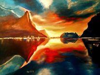 Ölmalerei, Wasser, Sonnenuntergang, Küste