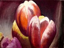 Frühling, Ölmalerei, Tulpen, Blime