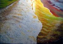 Landschaftsmalerei, Wellenreiten, Meer, Abendlicht