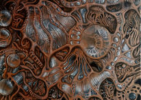 Fantasie, Abstrakt, Acrylmalerei, Kupfer