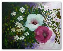 Weiß, Blumen, Rot, Mohnblüten