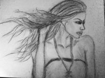 Kohlezeichnung, Frau, Haare, Zeichnungen