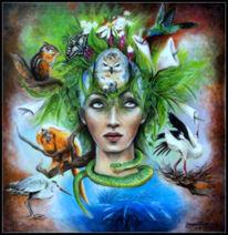 Mystik, Orange, Blumen, Tiere