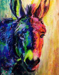 Tiere, Expresive malerei, Leuchtfarbe, Buntes tier