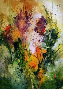 Wiese, Hummel, Blumen, Grün