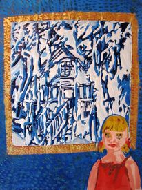 Hänsel, Mädchen, Hexenhaus, Blau
