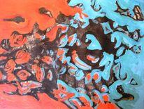 Abstrakt, Augen, Blau, Schmelzen