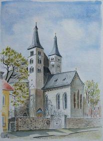 Dom, Nordhausen, Aquarellmalerei, Aquarell