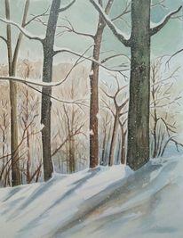 Wald, Schnee, Baum, Aquarellmalerei