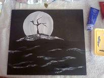 Dunkel, Mond, Baum, Malerei