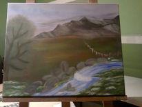 Weideland, Landschaft, Fluss, Malerei