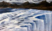 Berge, Viel wasser, Wolken, Malerei