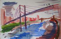 Kinder, Brücke, Abstrakt, Wasser