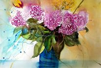 Vase, Aquarellmalerei, Blumen, Hortensien