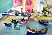 Insel, Mittelmeer, Malta, Aquarellmalerei