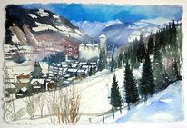 Zell am see, Österreich, Berge, Schnee
