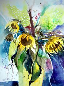 Blumen, Aquarellmalerei, Blüte, Stillleben