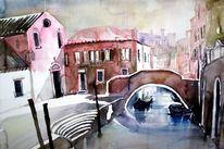 Aquarellmalerei, Boot, Italien, Ponte