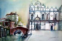 Venedig, Venezia, Brücke, Aquarellmalerei