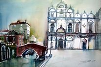 Kirche, Lagunenstadt, Ponte, Aquarellmalerei
