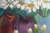 Blumen weiße blüten, Vase, Topf, Malerei
