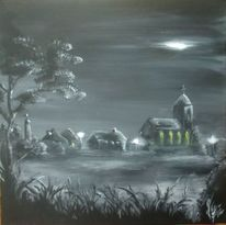 Landschaft, Nacht, Kirche, Acrylmalerei